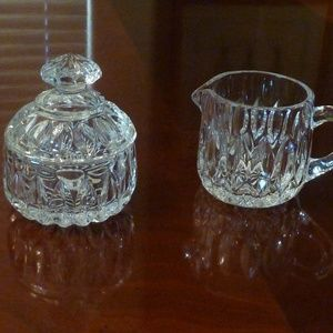 Cream and Sugar 3 pc set Glass New